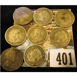(8) Canada Five Cent Silver including an 1874 H & 1881 H.