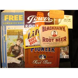"""…25c Hires' Improved 25c Root Beer!, reverse ""What Shall We Drink?…""; ""Free One A & W Root Beer at"