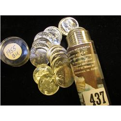1955 P Gem BU Solid Date Roll of Roosevelt Silver Dimes in a plastic tube. (50 pcs.).
