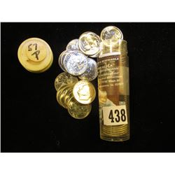 1957 P Gem BU Solid Date Roll of Roosevelt Silver Dimes in a plastic tube. (50 pcs.).