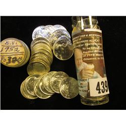 1952 P Gem BU Solid Date Roll of Roosevelt Silver Dimes in a plastic tube. (50 pcs.).