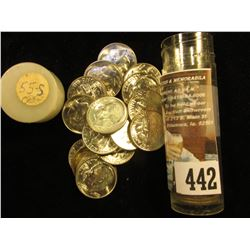 1955 S Gem BU Solid Date Roll of Roosevelt Silver Dimes in a plastic tube. (49 pcs.).