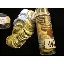 1963 P Gem BU Solid Date Roll of Roosevelt Silver Dimes in a plastic tube. (50 pcs.).