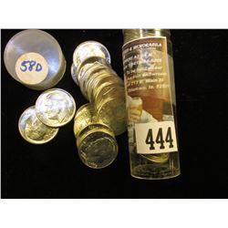 1958 D Gem BU Solid Date Roll of Roosevelt Silver Dimes in a plastic tube. (50 pcs.).