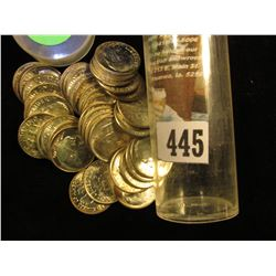 1961 P Gem BU Solid Date Roll of Roosevelt Silver Dimes in a plastic tube. (41 pcs.).