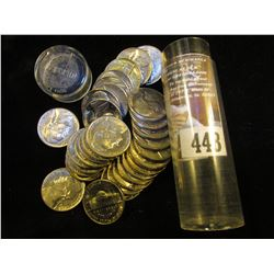 1965 P Solid Date AU-BU Roll of Jefferson Nickels in a plastic tube. (40 pcs.).
