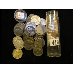 1940's thru fifties Roll of Jefferson Nickels in a plastic tube. (40 pcs.).
