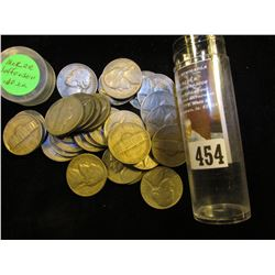 (29) 1940's thru the fifties Jefferson Nickels in a plastic tube. Includes several Silver World War