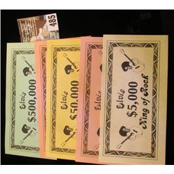 $5,000, $10,000, $50,000, $100,000, & $500,000 Elvis King of Rock Banknotes. CU.