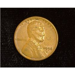 1956 D Lincoln Cent Closed 6 Mint error, EF.