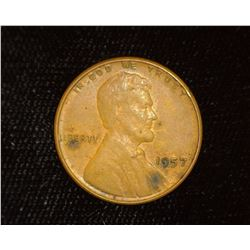 1957 P Lincoln Cent Mint error with Cracked Skull Cap. EF.