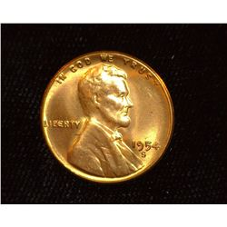 1954 S Lincoln Cent, Superb Red Gem BU.