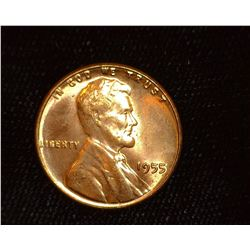 1955 P Lincoln Cent, Superb Red Gem BU.