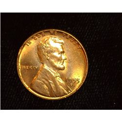 1955 D Lincoln Cent, Superb Red Gem BU.