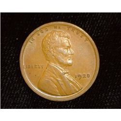 1920 P Lincoln Cent, Brown Almost Uncirculated.