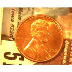 1957 P Lincoln Cent, Superb Red Gem BU.