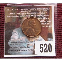 1952 S Lincoln Cent, Red-brown Uncirculated.