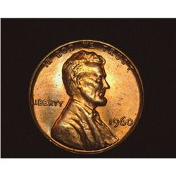 1960 P Lincoln Cent, Large Date Mint Error with Cracked Skull, Gem Red BU.