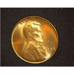 1948 S Lincoln Cent, Red Gem BU.