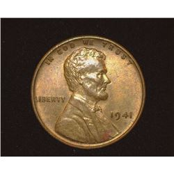 1941 P Lincoln Cent, Red-brown Uncirculated.