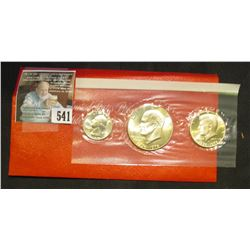 1976 S U.S. Three-Piece Silver Bicentennial Mint Set in original envelope and cellophane as issued.