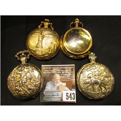 (4) non-running Modern Pocket Watches, may need batteries or more help.