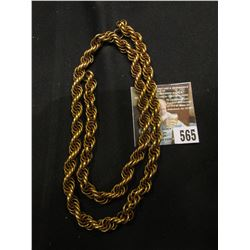 "24"" Heavy braided Chain, Not solid Gold, may not even be Gold-filled, but it is quite old."