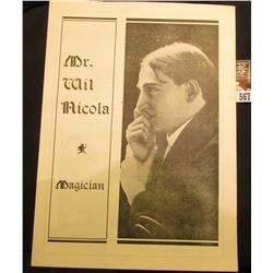 """Mr. Wil Nicola Magician"" Fold out Brochure, mint condition. Originally from Monmouth, Illinois."