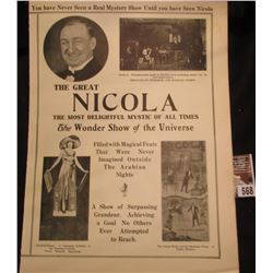 "Large four fold ""The Great Nicola The Most Delightful Mystic of All Times The wonder Show of the Uni"