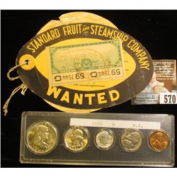 "Label with string attached ""Standard Fruit and Steamship Company Wanted"", ""Vaccaro Line"", 1952 U.S."