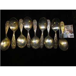 "(9) Different William Rogers Baby Spoons with engraved names ""Lori May 1963"", ""Shaun Sep 1970"", ""Bre"