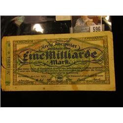 July 5, 1923 German One Million Mark Banknote.