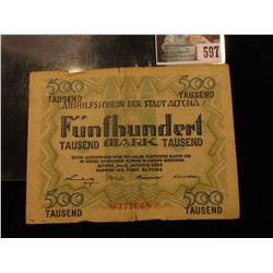 October 8, 1922 German 500,000 Mark Banknote.