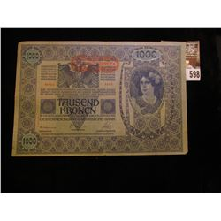 January 2, 1902 Austria One Thousand Kronen Bank Note.