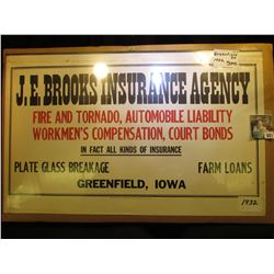 "1932 era Calendar Top sign ""J.E. Brooks Insurance Agency/Fire and Tornado, Automobile Liability/Work"