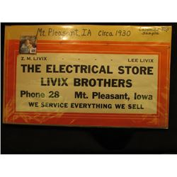 "1930 era Calendar Top Sign ""Z.M. Livix Lee Livix The Electrical Store Livix Brothers Phone 28 Mt. Pl"
