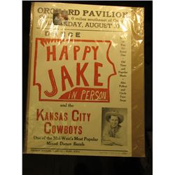 "Poster from Orchard, Iowa ""Orchard Pavilion…Dance Happy Jake in Person and the Kansas City Cowboys"","