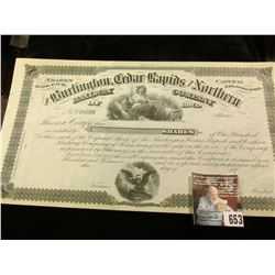 "1870 era unissued Stock Certificate for ""The Burlington, Cedar Rapids and Northern Railway Company o"