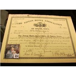 "June 24, 1911 Stock Certificate for 2 Shares of Stock in ""The Tipton Hotel Association of Tipton, Io"