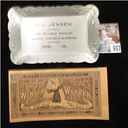 "Aluminum Change Tray ""G.L. Jensen, The Reliable Jeweler Diamonds, Watches & Silverware, Dike, Iowa,"