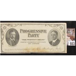 1912 Progressive Party Campaign Certificate with Theodore Roosevelt and Hiram W, Johnson. Doc Valued