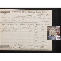 Winterset, Madison County, Iowa Nov. 26, 1870 Property Tax Receipt and 1926 Standing Liberty Quarter