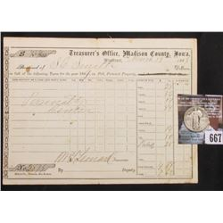 Winterset, Madison County, Iowa March 13, 1869 Property Tax Receipt and 1926 S Standing Liberty Quar