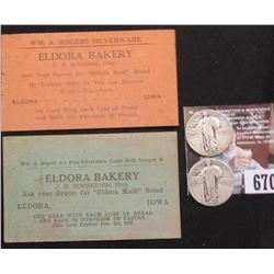"1927 P & 30 P U.S. Standing Liberty Quarters, Good; (2) Different ""Eldora Bakery J.H. Schneider, Pro"