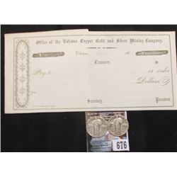 "Blank early 1860 era Check ""Office of the Volcano Copper Gold and Silver Mining Company"", Volcano, C"