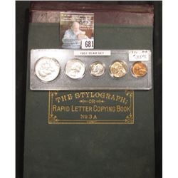 """Mc Donald's Stylograph; or Rapid Letter Copying Book, "" & 1951 AU-BU Year Set of coins in a Snaptig"