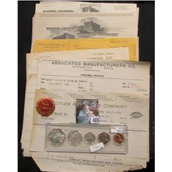 Over 30 early 1900 Waterloo, Iowa Invoices & 1960 Five-piece U.S. Year Set in a Snaptight case, BU.