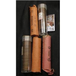 1941P, 41D, 45D, 70D, & 73D Solid Date Rolls of Lincoln Cents, some in plastic tubes.