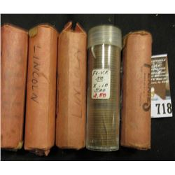 1939P, 49P, 49S, 53S, & 59D Solid Date Rolls of Lincoln Cents,one roll in a plastic tube.