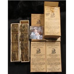 "(5) Original Boxes of ""Garfield Tea Laxative & Diuretic…Hewlett, New York; Original Box of Oval Glas"